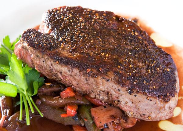 Peppercorn Filets with Mushroom Port Reduction Sauce