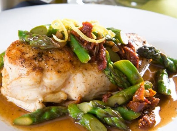 Roasted Chicken Breast with Asparagus PanSauce
