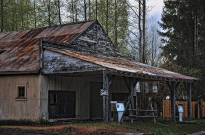 An Old Gas Station. I took this from a side of a road in a town outside of Crater Lake National Park. I wanted to capture a more rustic feel to the location with the faded and chipped away paint.