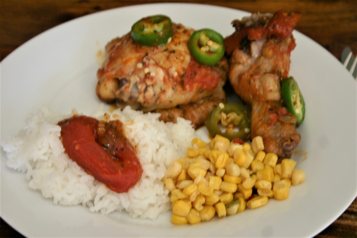 Louisiana Chicken Quarters with Steamed Rice