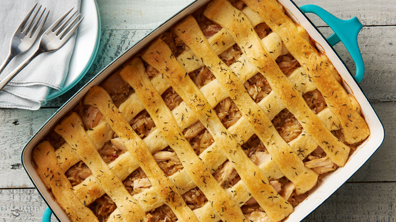 Lattice-Topped French Onion Chicken Bake