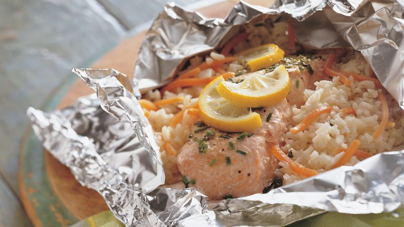 Grilled Lemon with Salmon-Rice FoilPacks