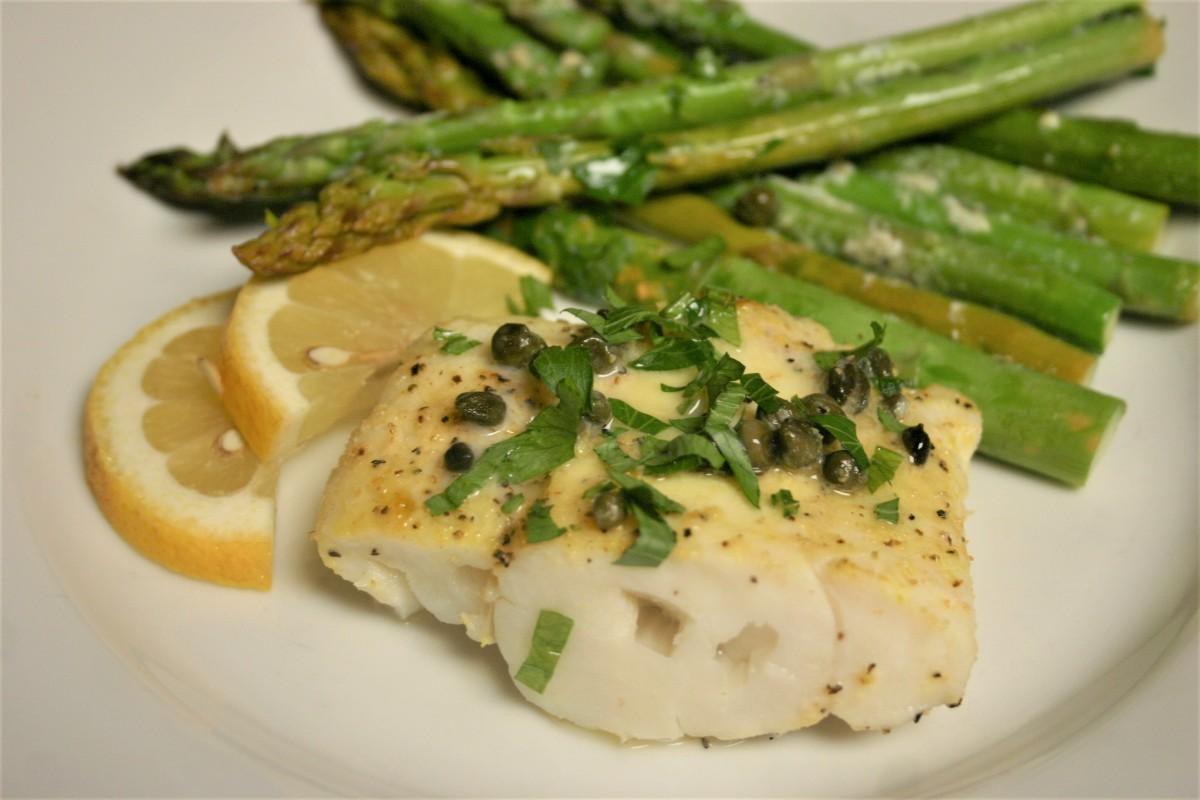 Baked Cod Piccata with Asparagus atLast