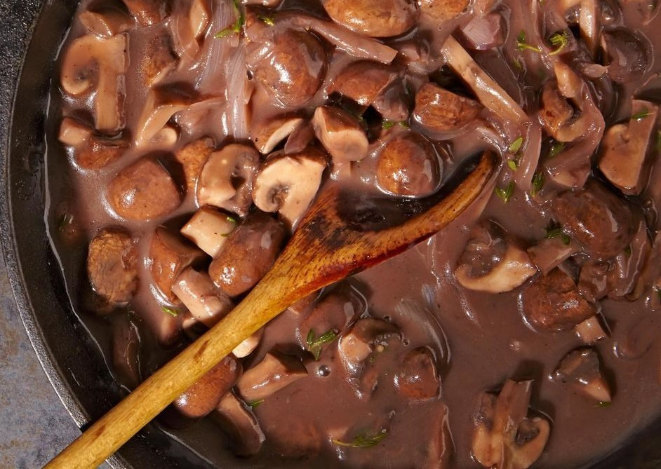 Braised Mushroom Red Wine Sauce