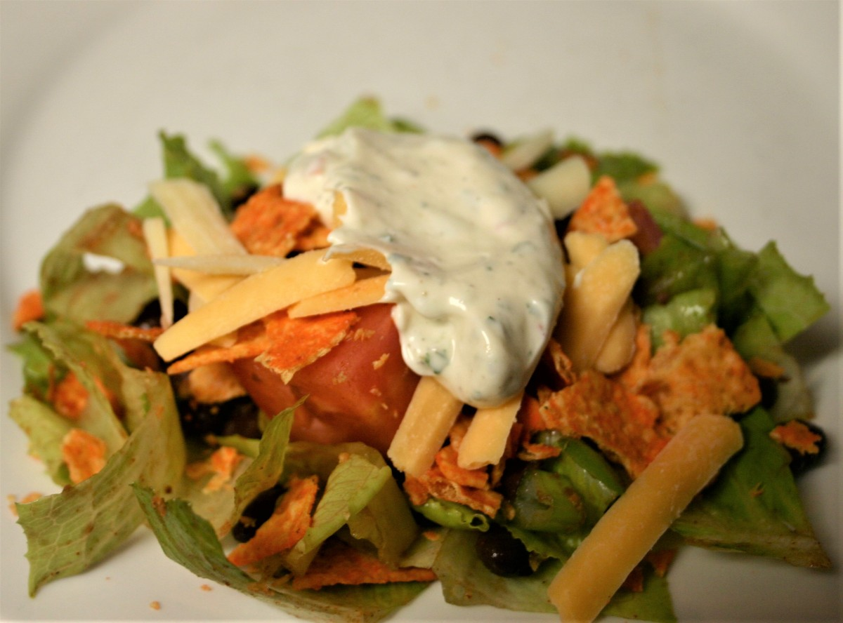 Mexican Salad with Jalapeno Ranch Dressing and DoritoCroutons