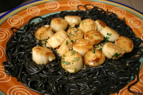 Seared Scallops over Squid Ink Spaghetti (10)