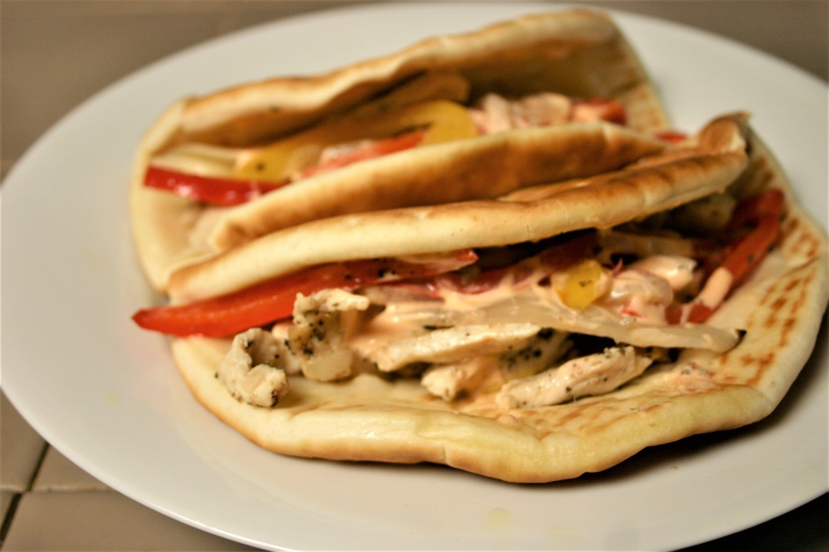 Philly Chicken Pitas with Spicy SrirachaMayo