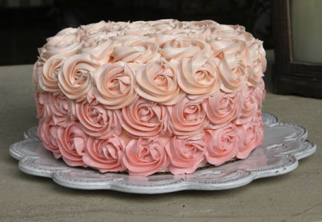 5 Pink Ombre Rose Cake