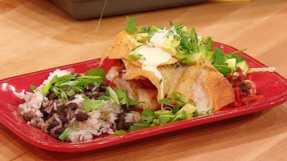 Mexican Fish & Chips with Rice & Beans