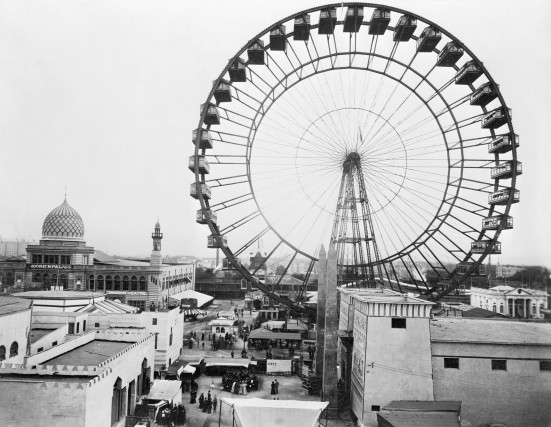 1893, Chicago, Illinois, USA --- Ferris Wheel and general overhead view of part of Chicago's World's Columbian Exposition. --- Image by © Bettmann/CORBIS