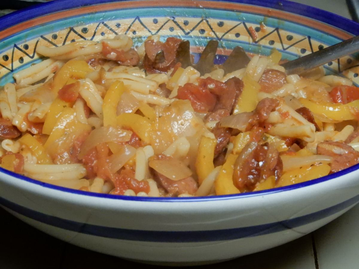 Casarecce Pasta with Smoked Sausage