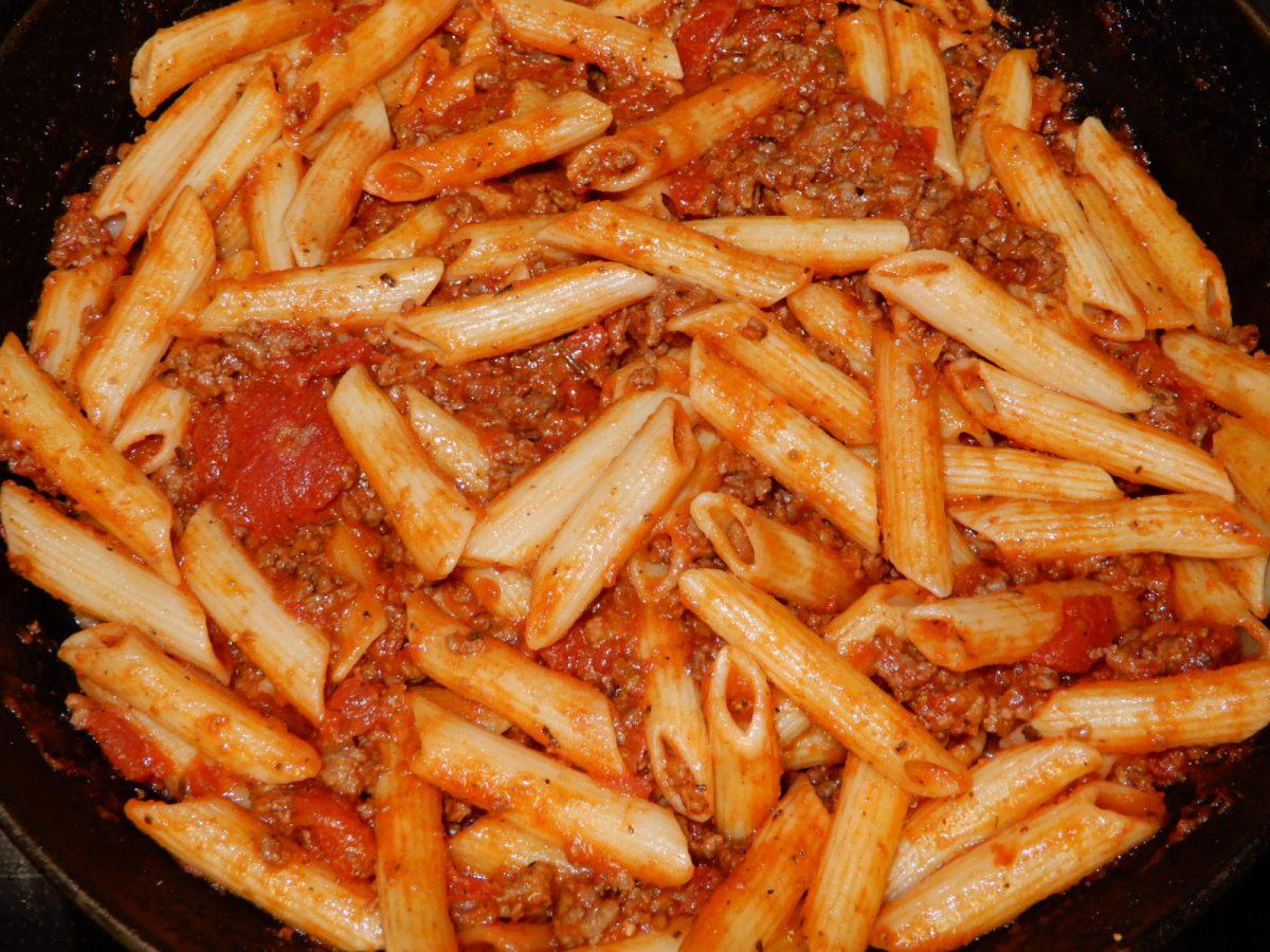Penne Pasta in a MeatySauce