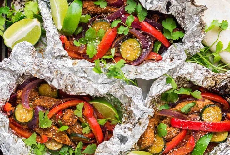 No Ordinary Grilled Chicken Fajita Foil Packs