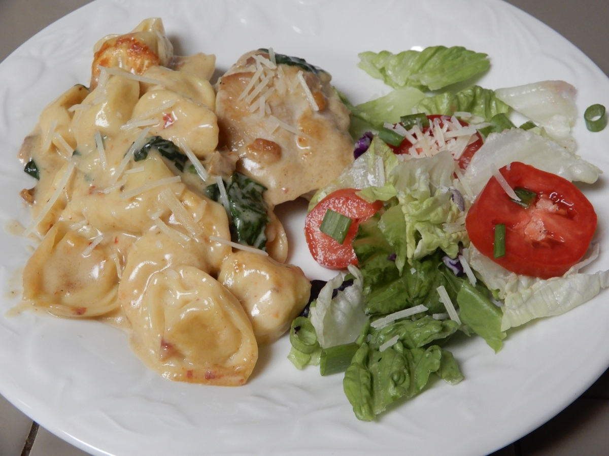 Creamy Chicken Thighs Over Cheese Tortellini