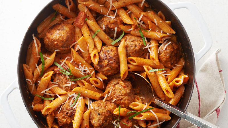 One-Pot Creamy Meatball Tomato Penne
