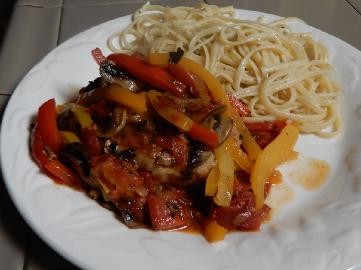 Pork Chops Italiano with Garlic Linguine