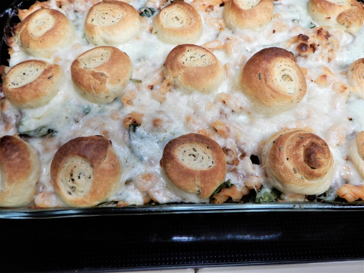 Baked Gemelli with HerbPinwheels