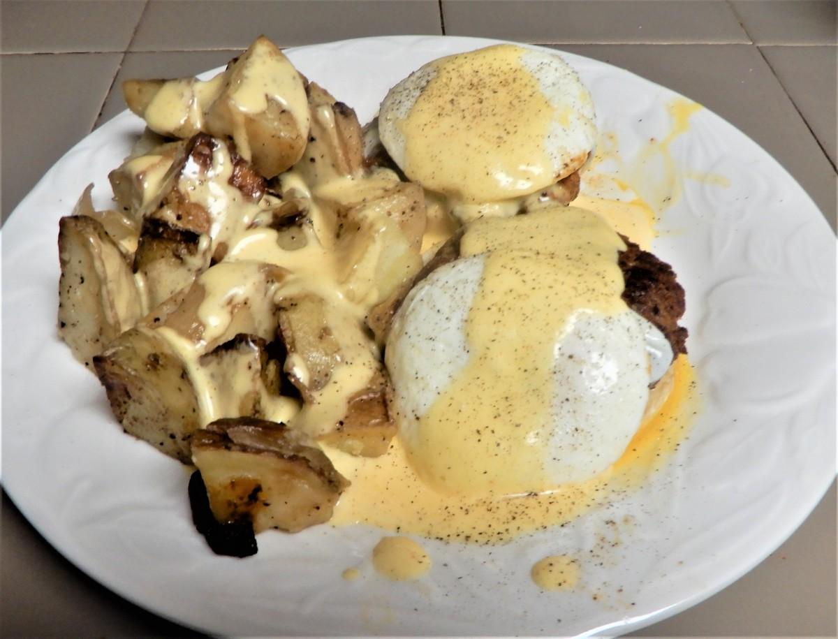 Chorizo Benedict Breakfast with Pan-FriedPotatoes
