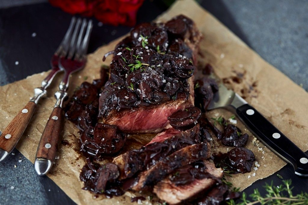 Seared Steak with Red Wine MushroomSauce
